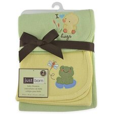 Just Born® Thermal Blanket Sage Duck and Yellow Frog (Set of 2)