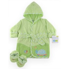 Just Born Turtle Woven Terry Robe and Bootie Set