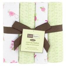 Just Born Dreams Come True Flannel Receiving Blankets (Set of 4)