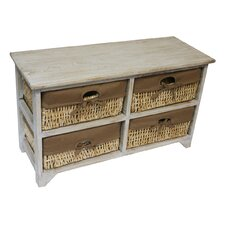 Maize 4 Drawer Flamed Wood Cabinet