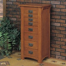 <strong>Powell Furniture</strong> Mission Oak Jewelry Armoire with Mirror