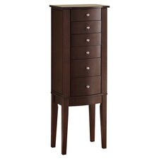 Merlot Jewelry Armoire with Mirror