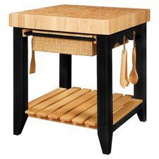 Color Story Kitchen Island with Butcher Block Top