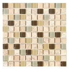 "Travertine Glass 12"" x 12"" Mosaic in Fennel"