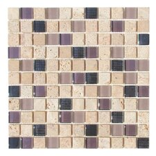 "Travertine Glass 12"" x 12"" Mosaic in Exotic Plum"