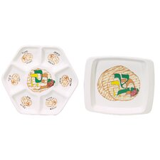 <strong>Israel Giftware Design</strong> 2 Piece Porcelain Seder Set