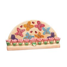 Ceramic Butterfly and Flower Menorah