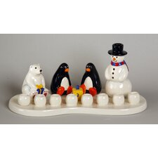 Ceramic Winter Theme Menorah