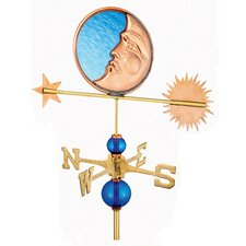 Full Size Weathervane Stained Glass Moon in Polished