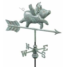 Flying Pig Weathervane with Roof Mount
