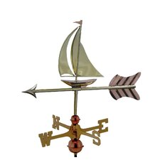 Sailboat Weathervane with Garden Pole