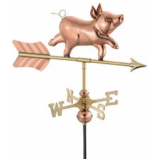 Whimsical Pig Weathervane with Garden Pole