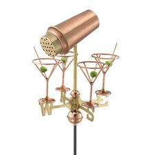 Martini Shaker and Glasses Weathervane with Roof Mount