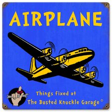 <strong>Almost There</strong> Busted Knuckle Garage Kid's Vintage Airplane Sign
