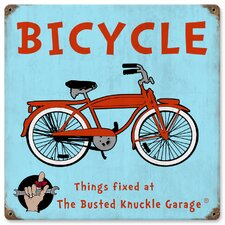 <strong>Almost There</strong> Busted Knuckle Garage Kid's Vintage Bicycle Sign