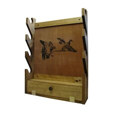4 Gun Wooden Rack with Duck Print