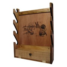 4 Gun Wooden Rack with Turkey Print