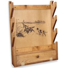 <strong>Evans Sports</strong> 4 Gun Wooden Rack with Hunting Dogs Print