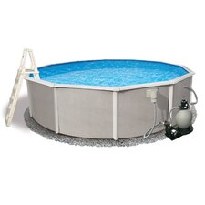 "Round 52"" Deep 6"" Top Rail Belize Metal Wall Swimming Pool Package"