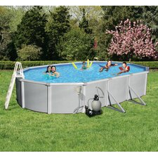 "<strong>Swim Time</strong> Samoan Oval 52"" Deep 8"" Top Rail Metal Wall Swimming Pool Package"