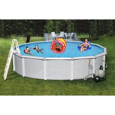 "Samoan Round 52"" Deep 8"" Top Rail Metal Wall Swimming Pool Package"