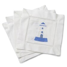 <strong>Jacaranda Living</strong> Lighthouse Embroidered Cocktail Napkins (Set of 4)