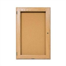 Wall-Mounted Enclosed Bulletin Boards - Oak