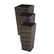 Shaped Rattan Planters (Set of 3)