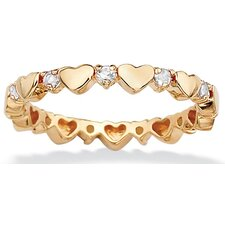 <strong>Palm Beach Jewelry</strong> Gold Plated Birthstone Heart Eternity Band