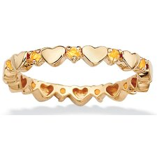 Gold Plated Birthstone Heart Eternity Band