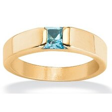 18k Gold over Sterling Silver Princess-Cut Birthstone Stack Ring
