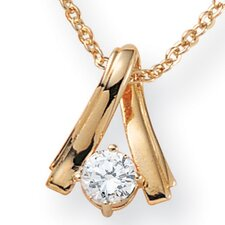 14k Gold Plated Cubic Zirconia Twist Pendant