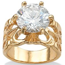 Gold Plated Cubic Zirconia Filigree Ring