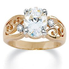 Gold Plated Oval-Cut and Round Cubic Zirconia Ring