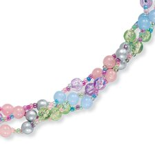 Silvertone Pastel Lucite Necklace