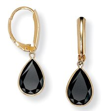 14k Gold Plated Faceted Pear Shaped Onyx Earrings