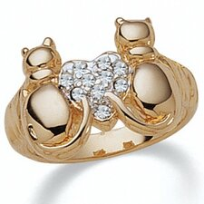Gold Plated Crystal Cat Ring