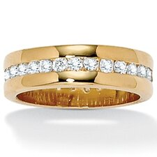 <strong>Palm Beach Jewelry</strong> Gold Plated Round Cubic Zirconia Eternity Ring
