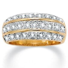 Gold Plated Tutone Cubic Zirconia Band