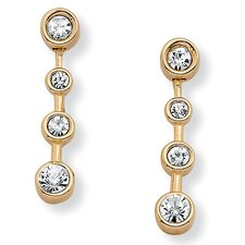 Goldtone Bezel-Set Crystal Pierced Earrings
