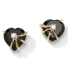 <strong>Palm Beach Jewelry</strong> Gold Plated Onyx Heart Earrings