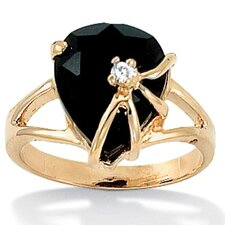 Gold Plated Onyx Heart Ring