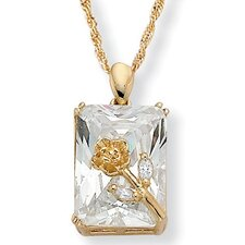Gold Plated Cubic Zirconia Rose Pendant