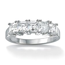 Platinum/Silver Princess-Cut Cubic Zirconia Ring