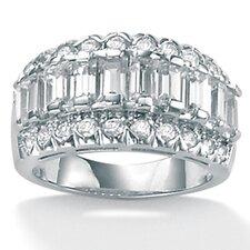 Platinum/Silver Cubic Zirconia Baguette Ring