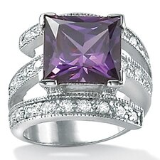 <strong>Palm Beach Jewelry</strong> Sterling Silver Purple Cubic Zirconia Ring