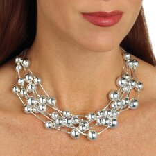 Silvertone Beaded Necklace