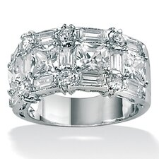 <strong>Palm Beach Jewelry</strong> Platinum/Silver Multi-Cut Cubic Zirconia Ring