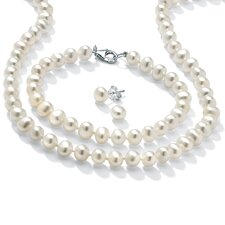 Sterling Silver 3 Piece Freshwater Cultured Pearl Set