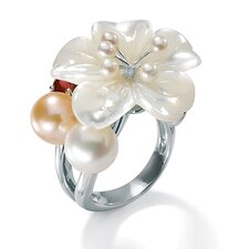 Sterling Silver Mother-Of-Pearl Flower Ring
